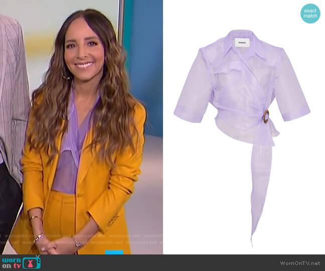 Dalas Wrap-Effect Sheer Top by Nanushka worn by Lilliana Vazquez  on E! News