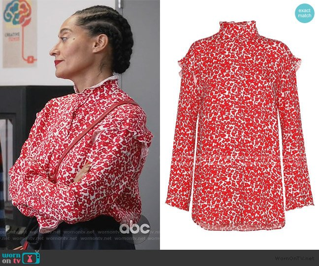 Ruffle-trimmed Floral-print Blouse by Derek Lam worn by Rainbow Johnson (Tracee Ellis Ross) on Blackish