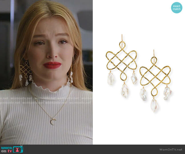 Baroque Pearl Trellis Drop Earrings by Devon Leigh worn by Kirby Anders (Maddison Brown) on Dynasty