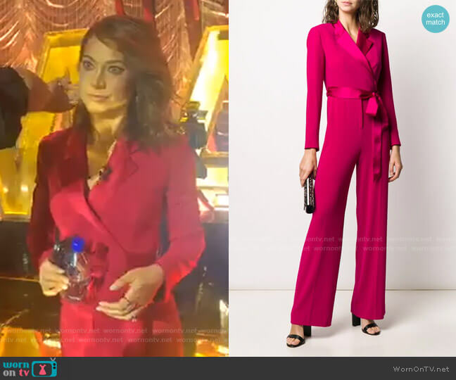 Monica Long-Sleeve Crepe Wrap Jumpsuit by Diane von Furstenberg worn by Ginger Zee  on Good Morning America