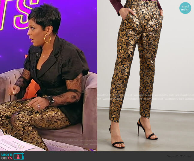 Metallic floral-jacquard straight-leg pants by Dolce & Gabbana worn by Tamron Hall  on Tamron Hall Show
