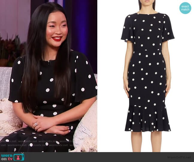 Polka Dot Stretch Silk Charmeuse Dress by Dolce & Gabbana worn by Lana Condor on The Kelly Clarkson Show