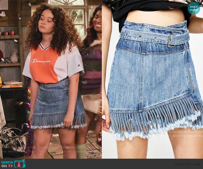 Sassy Slingin' Denim Skirt by Dolls Kill worn by Jade (Talia Jackson) on Family Reunion