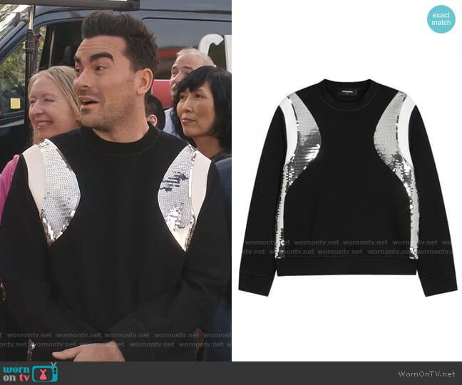 Sequin-Panelled Jersey Sweatshirt by Dsquared2 worn by David Rose (Daniel Levy) on Schitts Creek