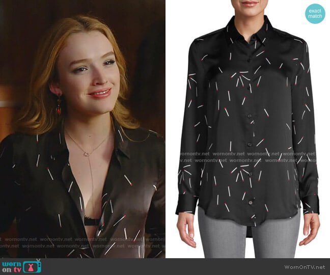 Matchstick-Print Long-Sleeve Shirt by Equipment worn by Kirby Anders (Maddison Brown) on Dynasty