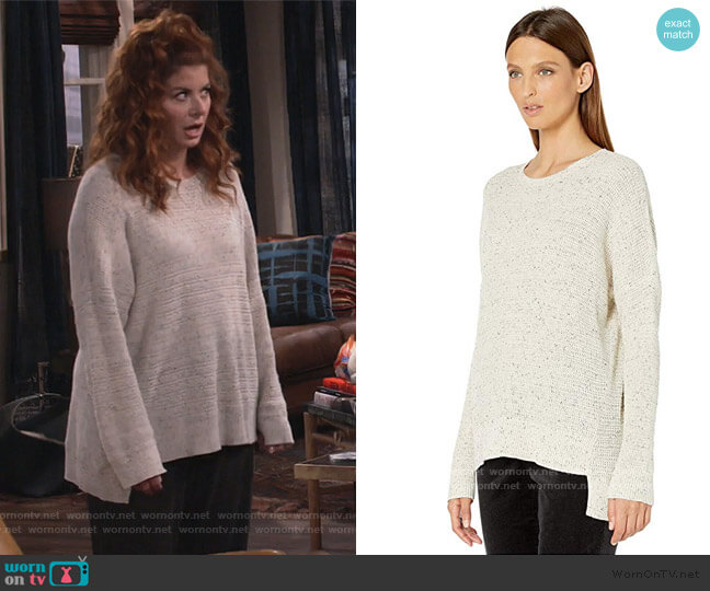 Organic Cotton Speckle Crew Neck Box Top by Eileen Fisher worn by Grace Adler (Debra Messing) on Will & Grace