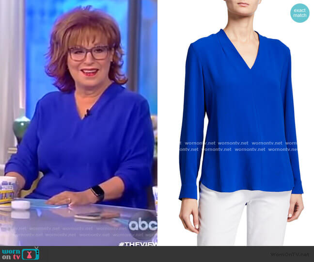 V-Neck Long-Sleeve Silk Crepe Top by Eileen Fisher worn by Joy Behar  on The View