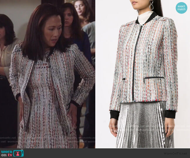 Brooke Frayed Tweed Jacket by Elie Tahari worn by Nicole Bilderback on Brooklyn Nine-Nine