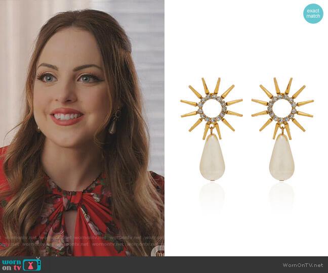 Kingsley Earrings by Elizabeth Cole worn by Fallon Carrington (Elizabeth Gillies) on Dynasty