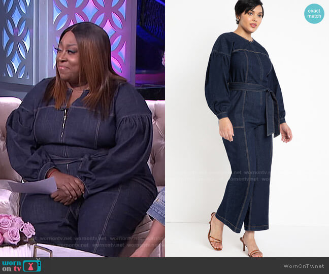 Puff Sleeve Denim Jumpsuit by Eloquii worn by Loni Love  on The Real