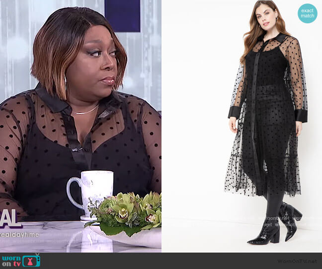 Sheer Dot Maxi Dress by Eloquii worn by Loni Love  on The Real