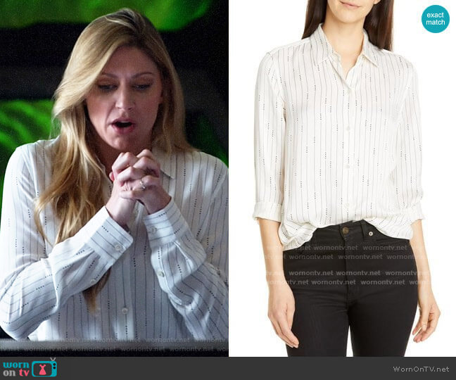Equipment Essential Silk Shirt in Natural White Eclipse worn by Ava Sharpe (Jes Macallan) on Legends of Tomorrow