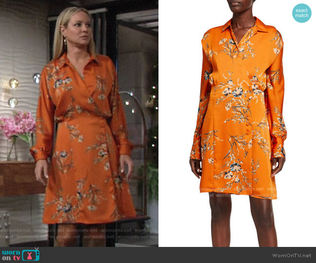 Equipment Harmon Floral Satin Wrap Dress worn by Sharon Collins (Sharon Case) on The Young & the Restless