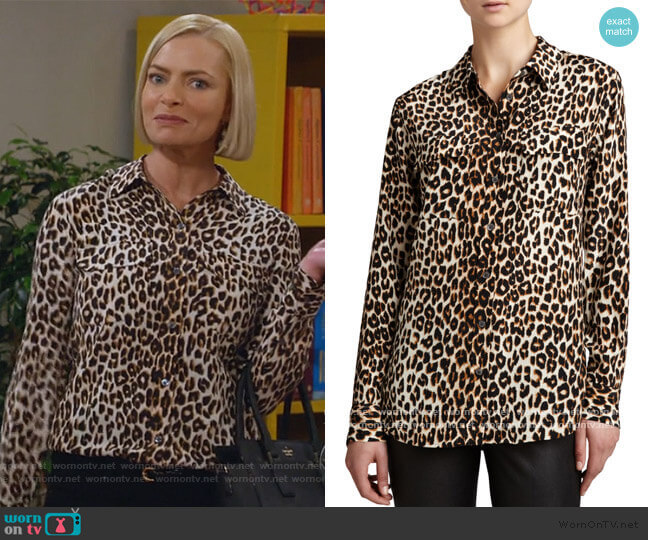 Equipment Slim Signature Leopard-Print Blouse worn by Jill Kendall (Jaime Pressly) on Mom