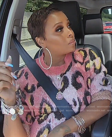 Eva's pink leopard sweater on The Real Housewives of Atlanta