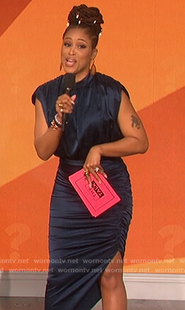 Eve's blue ruched satin dress on The Talk