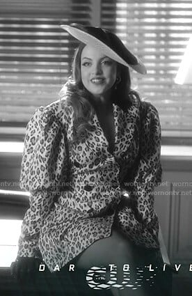 Fallon's leopard print blazer dress on Dynasty