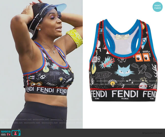 Printed stretch-jersey sports bra by Fendi worn by Marlo Hampton on The Real Housewives of Atlanta