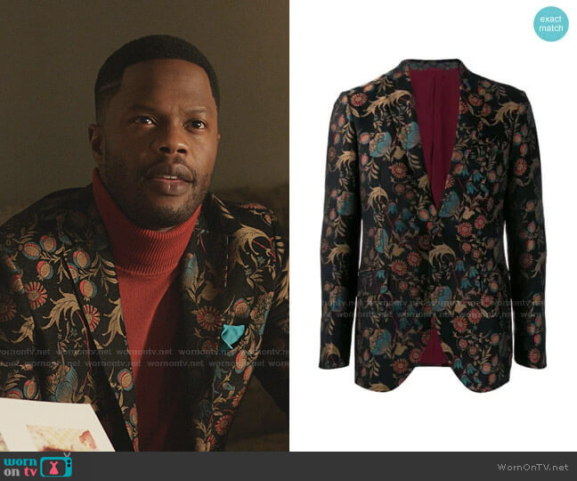 Floral Pattern Blazer by Etro worn by Jeff Colby (Sam Adegoke) on Dynasty