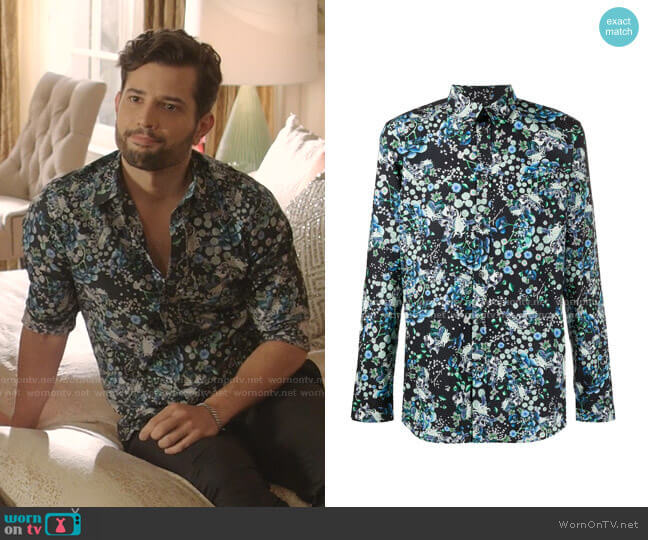 Floral Print Long Sleeves Shirt by Givenchy worn by Sam Flores (Rafael de la Fuente) on Dynasty