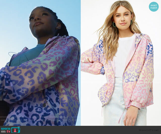 Ombre Windbreaker Jacket by Forever 21 worn by Skylar Forster (Halle Bailey) on Grown-ish