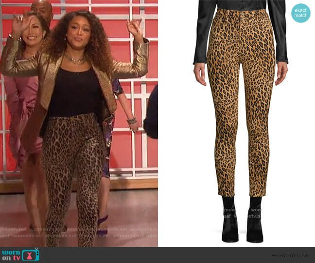 Ali High-Rise Cigarette Skinny Jeans by Frame worn by Eve  on The Talk