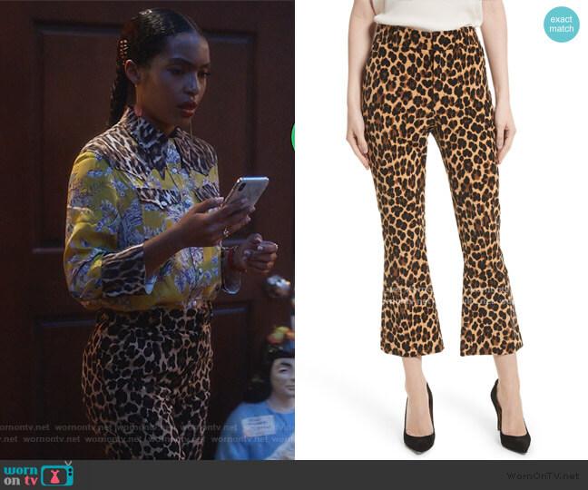 Cheetah Print Velvet Crop Flare Pants by Frame worn by Zoey Johnson (Yara Shahidi) on Grown-ish