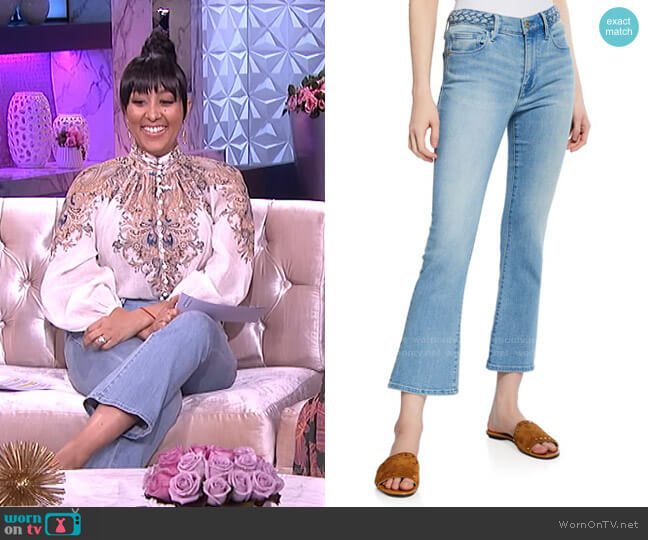Le Crop Mini Boot-Cut Jeans with Braided Waistband by Frame worn by Tamera Mowry  on The Real