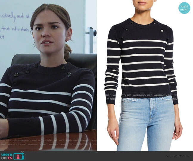 Mariner Stripe Cotton Sweater by Frame worn by Callie Foster (Maia Mitchell) on Good Trouble
