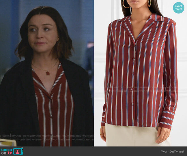 Striped Silk Shirt by Frame worn by Amelia Shepherd (Caterina Scorsone) on Greys Anatomy