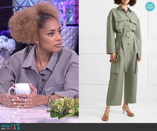 Linda belted brushed-twill jumpsuit by Frankie Shop worn by Amanda Seales  on The Real