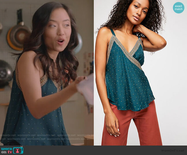 Breezy Border Cami by Free People worn by Janet (Andrea Bang) on Kims Convenience