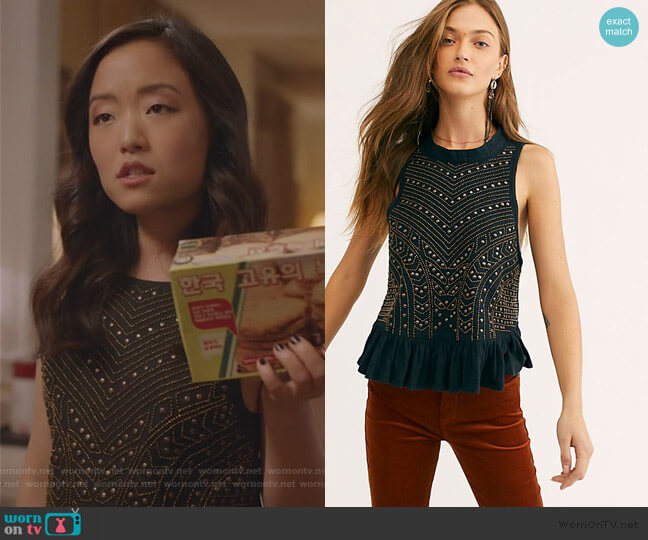 Cool Cat Embellished Tank by Free People worn by Janet (Andrea Bang) on Kims Convenience