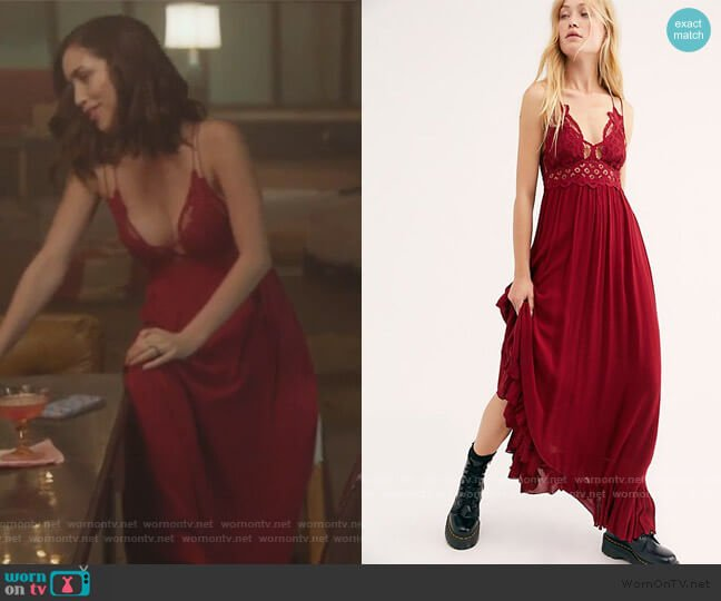 Adella Maxi Slip Dress by Free People worn by Priscilla Quintana on Good Trouble