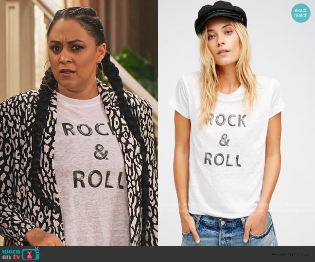 Rock N Roll Tee by Free People worn by Cocoa McKellan (Tia Mowry-Hardrict) on Family Reunion
