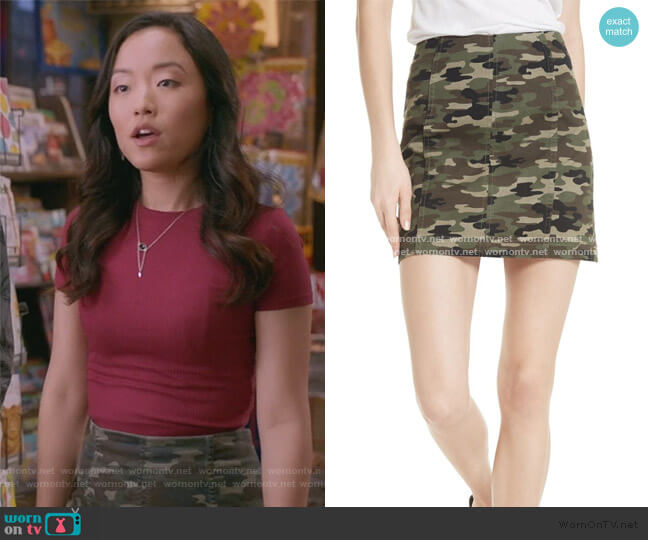Femme Camo Skirt by Free People worn by Janet (Andrea Bang) on Kims Convenience