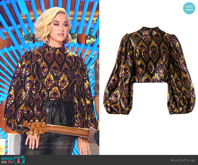 Sequinned Bell Sleeve Blouse by Giuseppe Di Morabito worn by Katy Perry  on American Idol