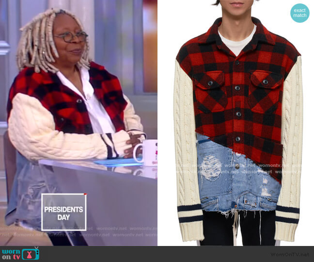 Buffalo Check Denim Jacket by Greg Lauren worn by Whoopi Goldberg  on The View