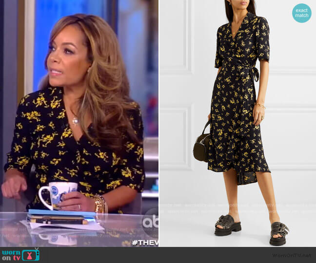 Floral-print Crepe Wrap Dress by Ganni worn by Sunny Hostin  on The View