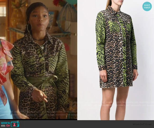 Animal Print Shirtdress by Ganni worn by Skylar Forster (Halle Bailey) on Grown-ish