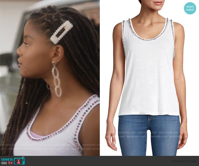Zia Crystal Studded Linen-Blend Tank Top by Generation Love worn by Skylar Forster (Halle Bailey) on Grown-ish