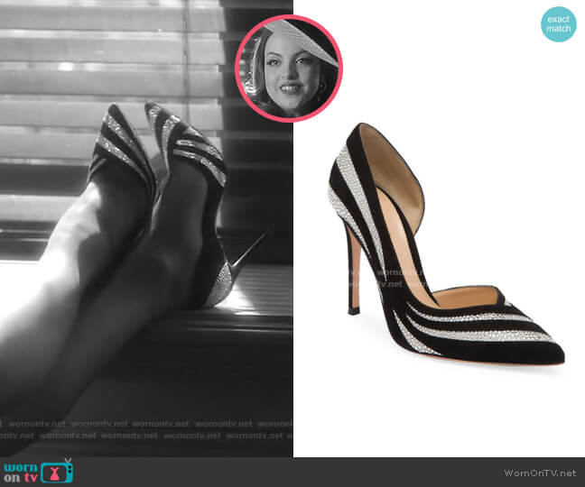 Glitter Stripe Suede & Silk Pumps by Gianvito Rossi worn by Fallon Carrington (Elizabeth Gillies) on Dynasty