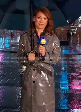 Ginger's grey trench coat on Good Morning America