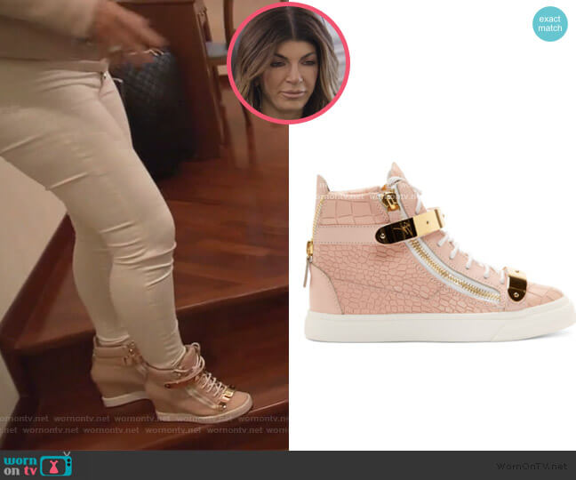 Croc Embossed Leather Ringo Sneakers by Giuseppe Zanotti worn by Teresa Giudice  on The Real Housewives of New Jersey