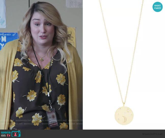 Luna Coin Necklace by Gorjana worn by Davia (Emma Hunton) on Good Trouble