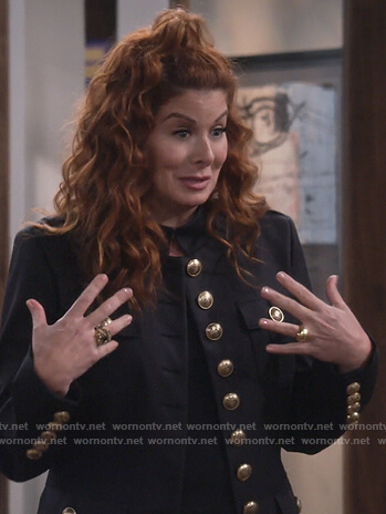 Grace's black button up military jacket on Will and Grace