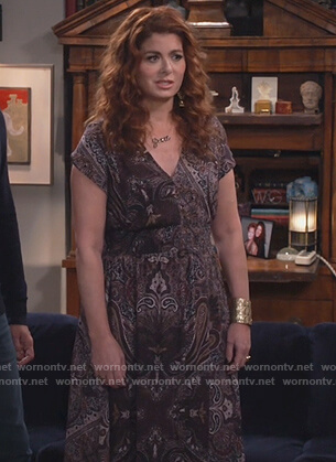 Grace's paisley print v-neck dress on Will and Grace