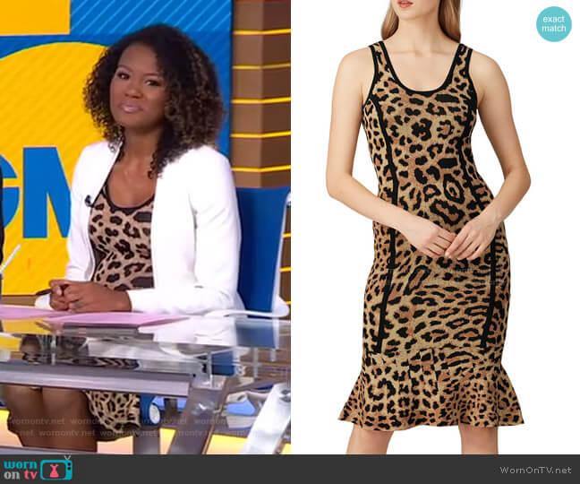 Leopard Knit Sheath Dress by Great Jones worn by Janai Norman  on Good Morning America