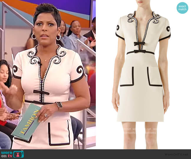 Crystal Trim Jersey Dress by Gucci worn by Tamron Hall  on Tamron Hall Show
