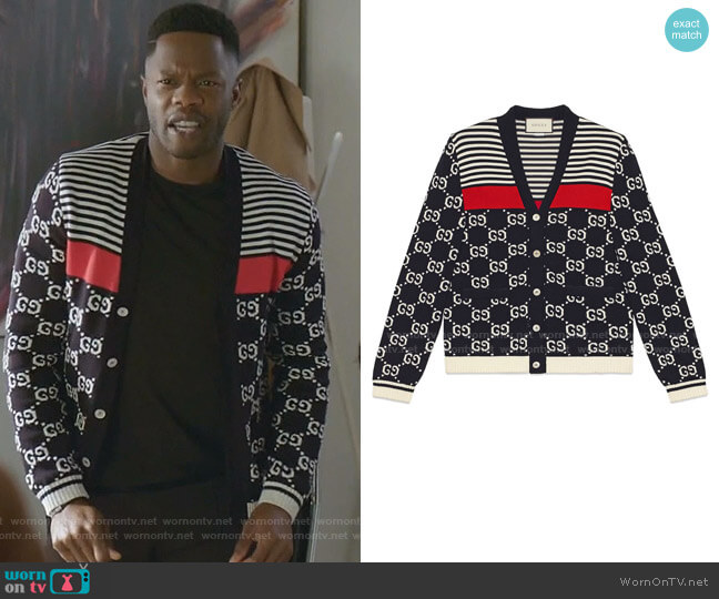 GG and Stripes Knit Cardigan by Gucci worn by Jeff Colby (Sam Adegoke) on Dynasty
